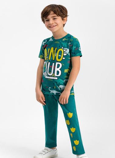 Roly Poly  Dino Club Koyu Yeşil Erkek Çocuk Pijama Takımı Yeşil